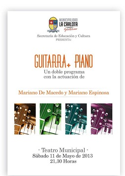 El Sábado Mariano Espinosa se presentará junto a Mariano De Macedo en el teatro de Cultura.