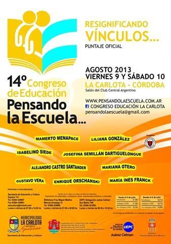 El 9 y 10 de agosto los días del 14° Congreso Pensando la Escuela.