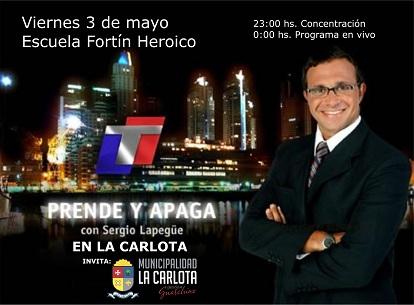 Prende y apaga en La Carlota noche del viernes 3 de Mayo, a las 0.00hs