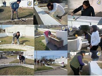 La Juventud Justicialista circuito La Carlota, pinto la Plaza Carlos Gardel, ubicada en barrio I.P.V.