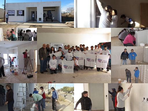 Banco de Tiempo: Voluntarios pintaron una escuela en Alejandro Roca.