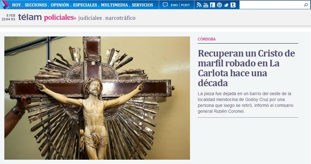 Repercusiones en los medios de prensa sobre el Cristo recuperado