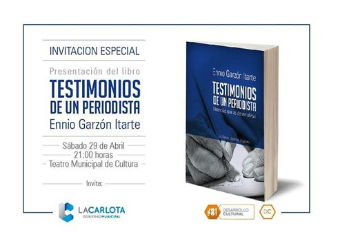 """Presentación del Libro """"Testimonio de un Periodista"""" de Ennio Garzón Itarte"""