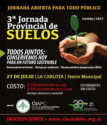 La 3° Jornada Provincial de Suelos se desarrollará en La Carlota