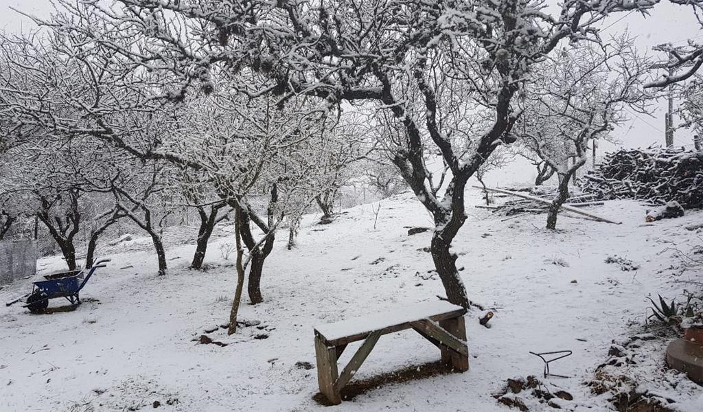 Cayó nieve en las sierras del sur