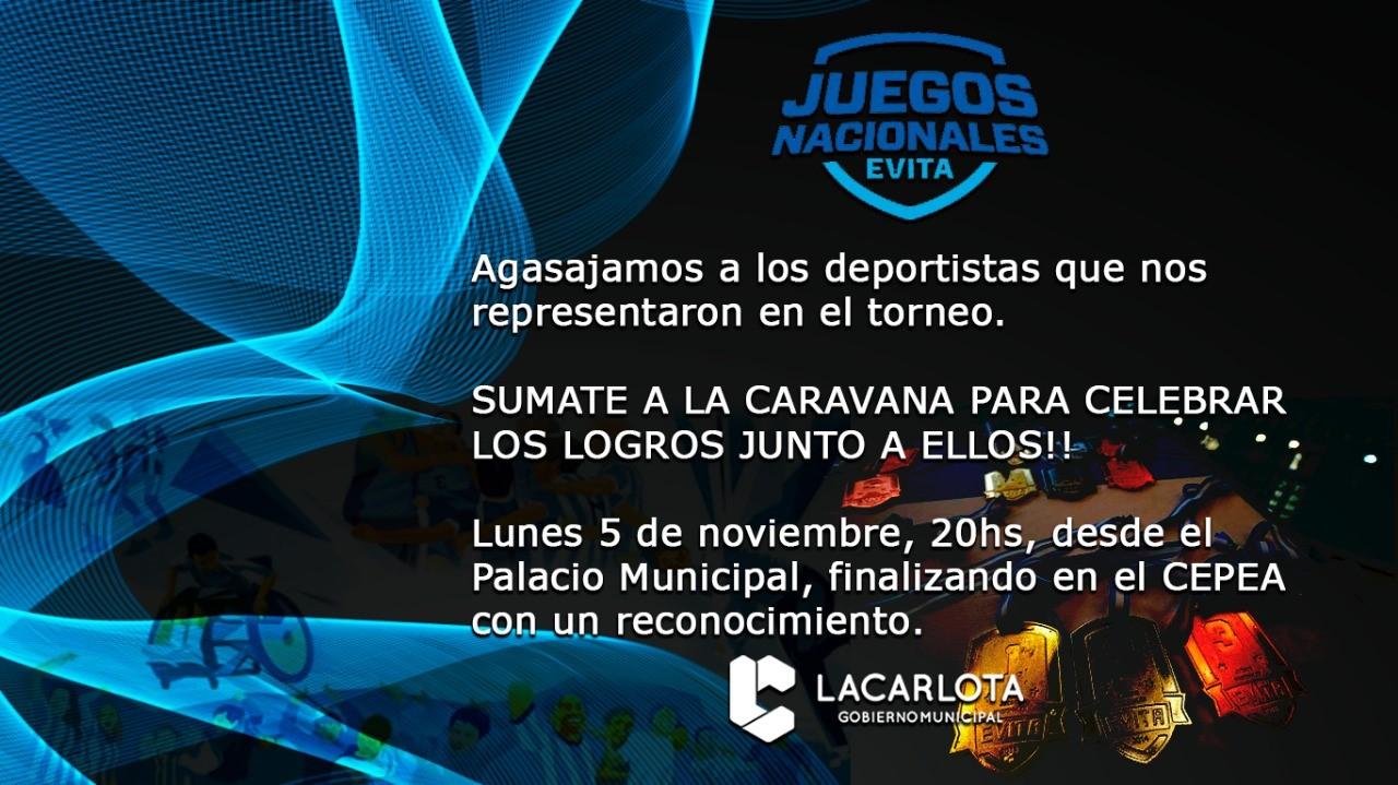Caravana con deportistas triunfadores en Juegos Nacionales Evita