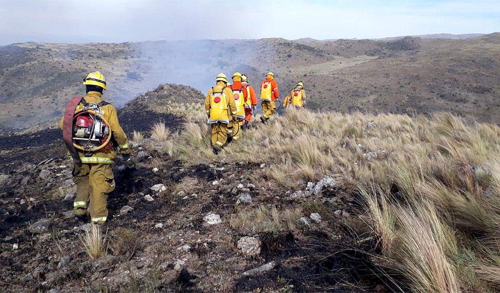 Por tierra y por aire, ardua lucha contra el fuego en Alpa Corral