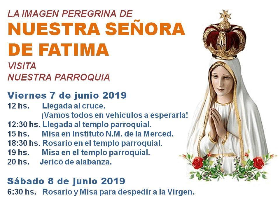 El día viernes 7 de junio, la imagen Peregrina de la Virgen de Fátima visitara la ciudad de La Carlota