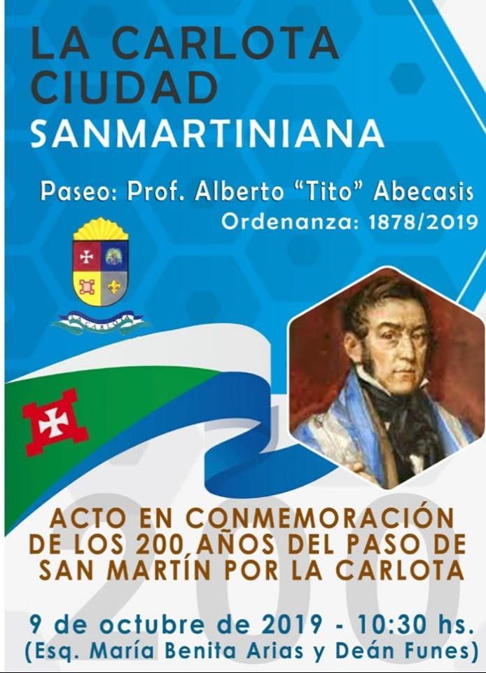 Acto oficial del Bicentenario de la  llegada del Gral. San Martín a La Carlota