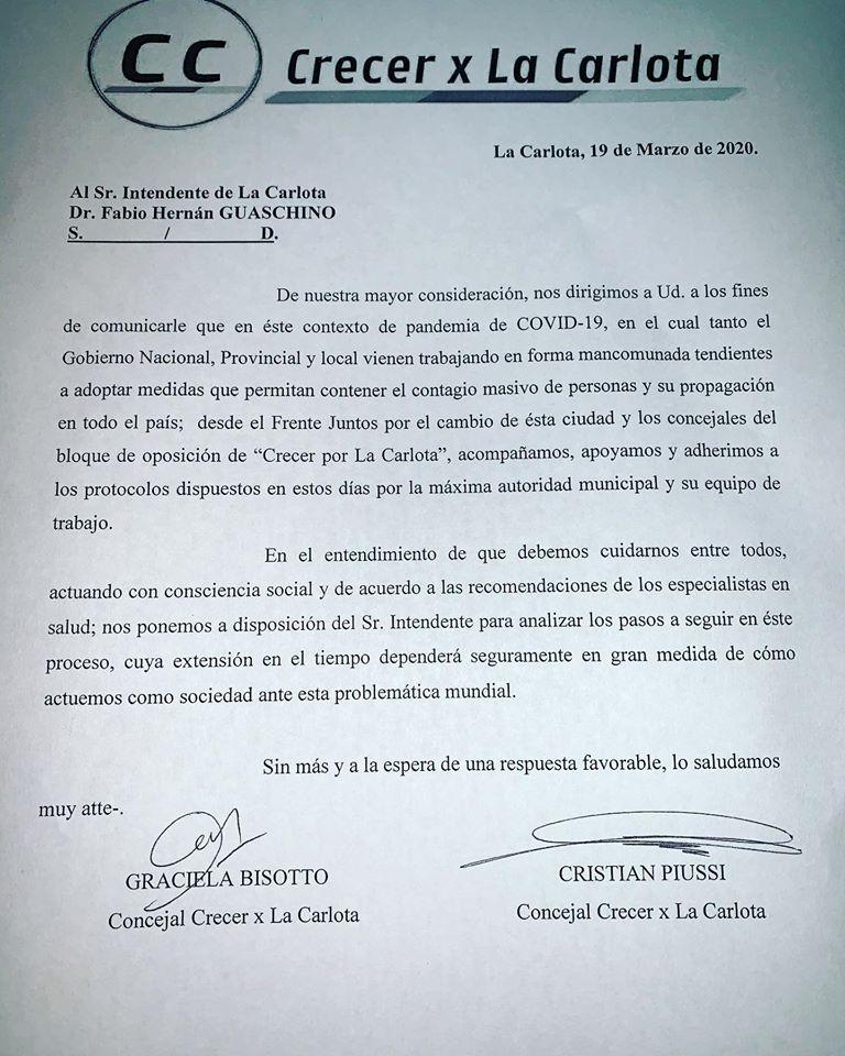 LA CARLOTA: Agradecimiento del intendente Fabio Guaschino  a la oposición