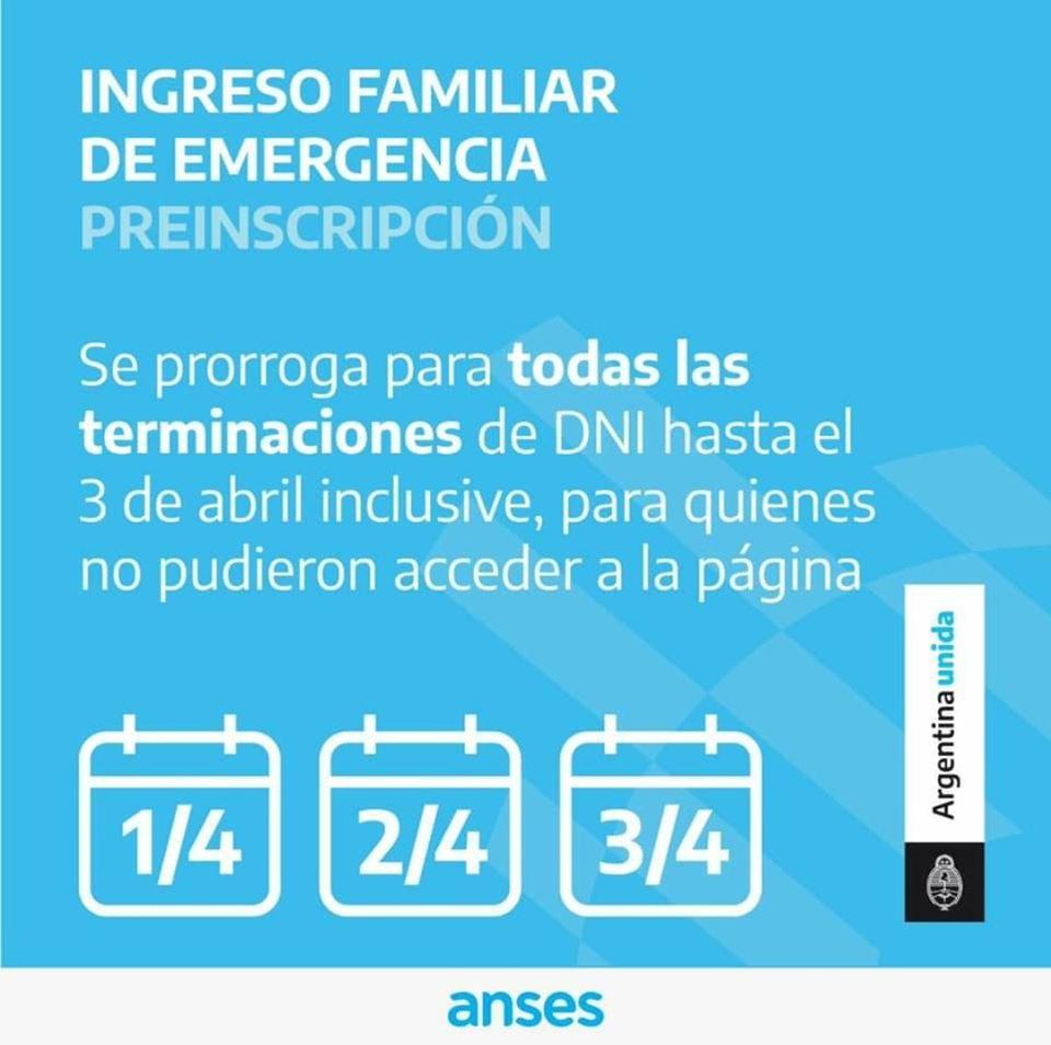Prorrogan hasta el 3 de abril inclusive la preinscripción para el ingreso familiar de emergencia