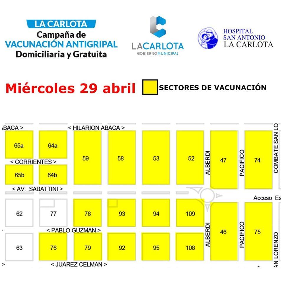 LA CARLOTA: vacunación antigripal en barrio norte