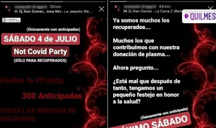 """Polémica en Quilmes por la """"Not Covid Party"""": convocaron a una fiesta solo para personas recuperadas de coronavirus"""