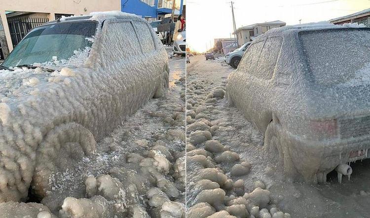 Frío extremo en Tierra del Fuego: la sensación térmica llegó a -20°, se congelaron los autos y hasta el agua de la orilla del mar en Río Grande