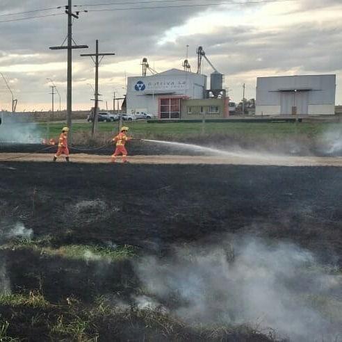 La Carlota: Bomberos Voluntarios controlaron un incendio forestal en Ruta 8
