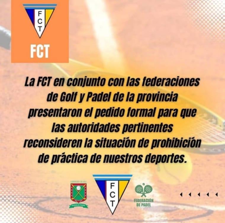Carta al Gobierno Provincial: Tenis, Pádel y Golf pidieron que se reconsidere la restricción sobre su actividad
