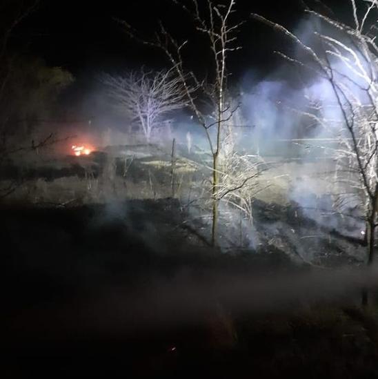 Bomberos de La Carlota controlaron un incendio de pastizales